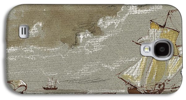 Frigates Paintings Galaxy S4 Cases - Ships on storm Galaxy S4 Case by Juan  Bosco
