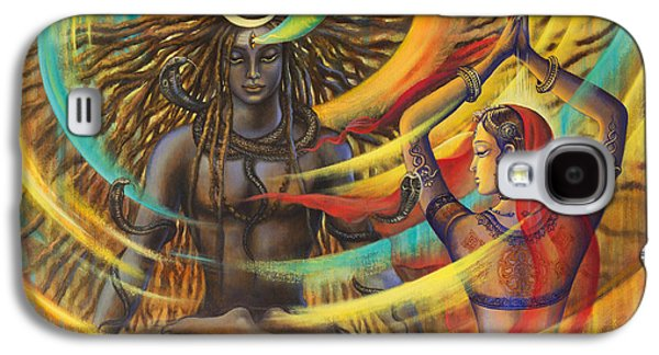 work Paintings Galaxy S4 Cases - Shiva Shakti Galaxy S4 Case by Vrindavan Das