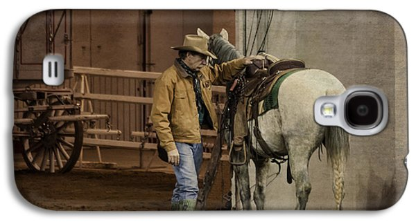 Backstage Photographs Galaxy S4 Cases - Show Cowboy and His Wild Mustang Galaxy S4 Case by Janice Rae Pariza