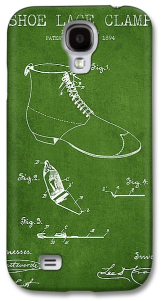Shoe Digital Art Galaxy S4 Cases - Show Lace Clamp Patent from 1894 - Green Galaxy S4 Case by Aged Pixel
