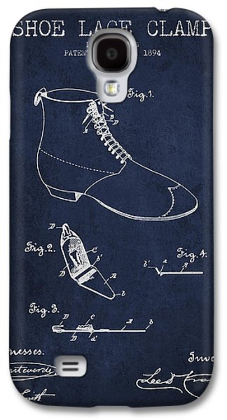 Shoe Digital Art Galaxy S4 Cases - Show Lace Clamp Patent from 1894 - Navy Blue Galaxy S4 Case by Aged Pixel