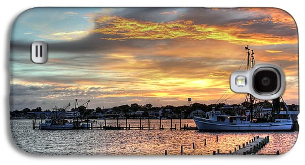 Boats In Harbor Galaxy S4 Cases - Shrimp Boats at Sunset Galaxy S4 Case by Benanne Stiens