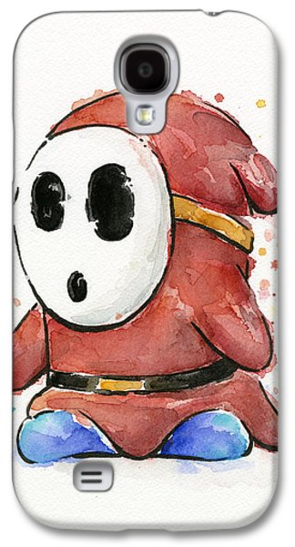 Character Portraits Mixed Media Galaxy S4 Cases - Shy Guy Watercolor Galaxy S4 Case by Olga Shvartsur