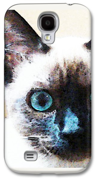 Domestic Digital Galaxy S4 Cases - Siamese Cat Art - Black and Tan Galaxy S4 Case by Sharon Cummings