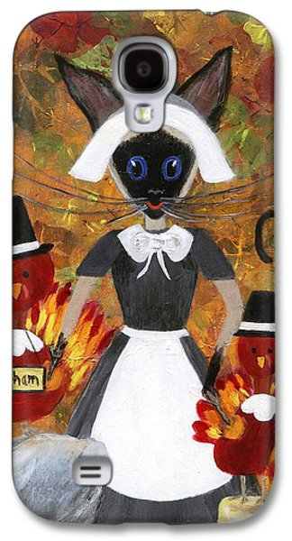 Quaker Paintings Galaxy S4 Cases - Siamese Queen of Thanksgiving Galaxy S4 Case by Jamie Frier
