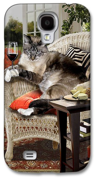 Wine Sipping Galaxy S4 Cases - Funny pet a wine bibbing kitty  Galaxy S4 Case by Gina Femrite