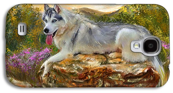 Siberian Leisure - Siberian Husky Painting Galaxy S4 Case by Lourry Legarde