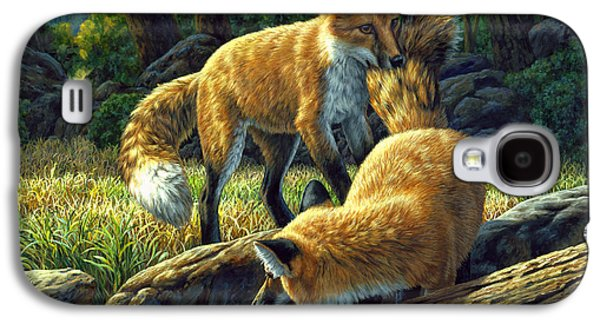Forest Paintings Galaxy S4 Cases - Red Foxes - Sibling Rivalry Galaxy S4 Case by Crista Forest