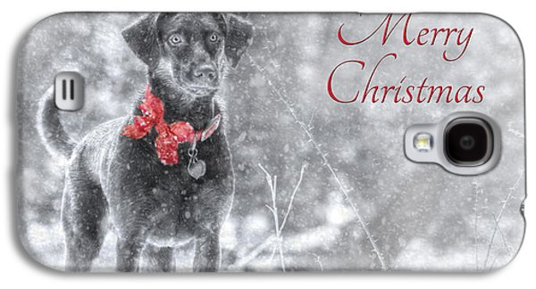 Labrador Retriever Digital Galaxy S4 Cases - Sienna - Merry Christmas Galaxy S4 Case by Lori Deiter