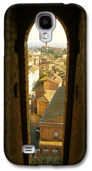 Sienna Italy Galaxy S4 Cases - Sienna Tower Window Galaxy S4 Case by Barbara Stellwagen