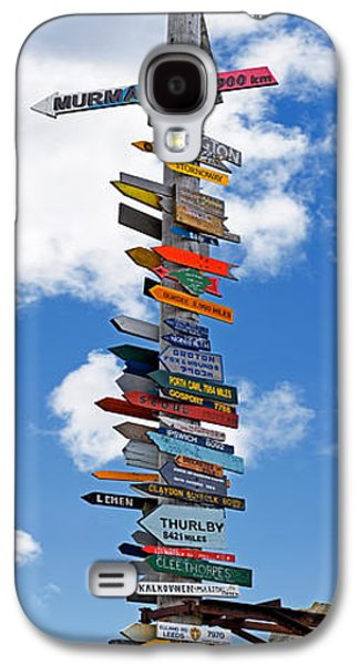 Telephone Poles Galaxy S4 Cases - Sign Post Showing Distances To Various Galaxy S4 Case by Panoramic Images