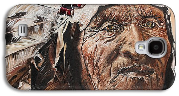 Native American Spirit Portrait Paintings Galaxy S4 Cases - Signs of His Times Galaxy S4 Case by Annalise Kucan
