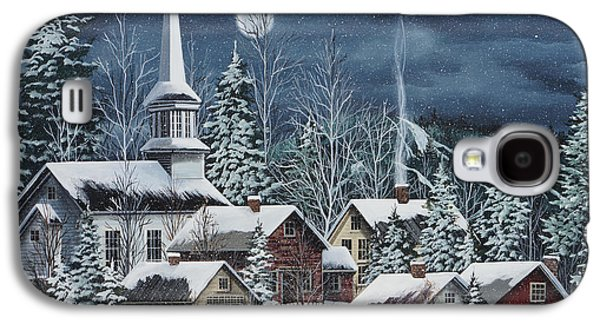 New England Snow Scene Paintings Galaxy S4 Cases - Silent Night Galaxy S4 Case by Debbi Wetzel