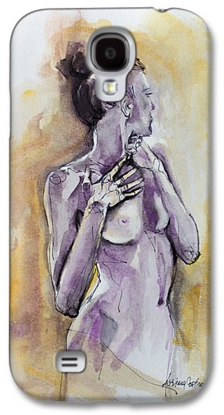 Figures Mixed Media Galaxy S4 Cases - Silhouette In Purple Galaxy S4 Case by Dorina  Costras