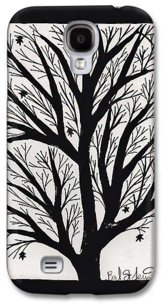 Lino-cut Galaxy S4 Cases - Silhouette Maple Galaxy S4 Case by Barbara St Jean