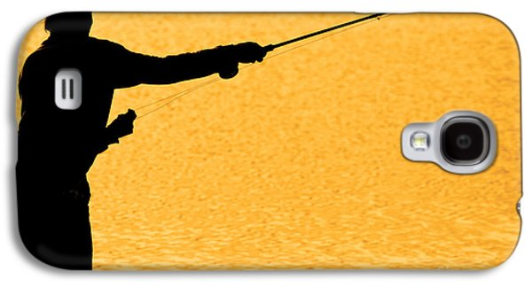 Sportfishing Galaxy S4 Cases - Silhouette of a Fisherman Holding a Fishing Pole Gold Galaxy S4 Case by James BO  Insogna