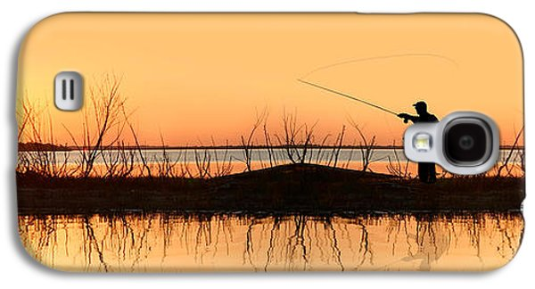 Concept Photographs Galaxy S4 Cases - Silhouette Of A Man Fishing Galaxy S4 Case by Panoramic Images