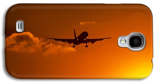 Airliner Galaxy S4 Cases - Silhouette Of Airliner In Golden Sunset Galaxy S4 Case by Panoramic Images
