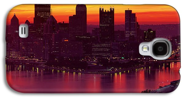 Business Galaxy S4 Cases - Silhouette Of Buildings At Dawn, Three Galaxy S4 Case by Panoramic Images