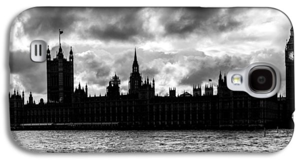 White River Scene Galaxy S4 Cases - Silhouette of  Palace of Westminster and the Big Ben Galaxy S4 Case by Semmick Photo