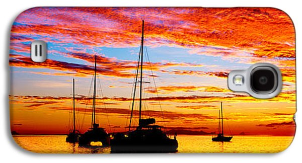 Sailboat Images Galaxy S4 Cases - Silhouette Of Sailboats In The Ocean Galaxy S4 Case by Panoramic Images