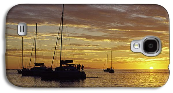 Sailboats In Water Galaxy S4 Cases - Silhouette Of Sailboats In The Sea Galaxy S4 Case by Panoramic Images
