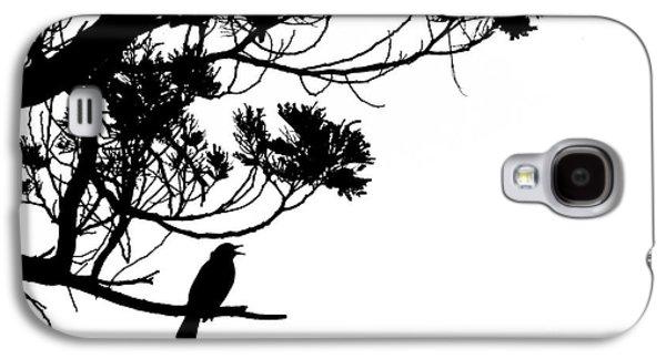 Creative Blackbird Galaxy S4 Cases - Silhouette of singing Common Blackbird in a tree Galaxy S4 Case by Stephan Pietzko