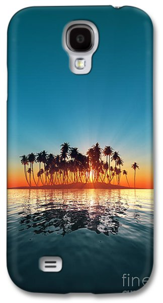 Concept Photographs Galaxy S4 Cases - Silhouette Of Turquoise Island Sunset Galaxy S4 Case by Aleksey Tugolukov