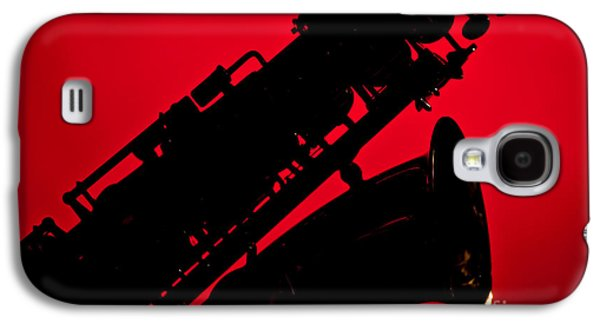 Saxophone Photographs Galaxy S4 Cases - Silhouette Saxophone Instrument Bell in Color 3269.02 Galaxy S4 Case by M K  Miller
