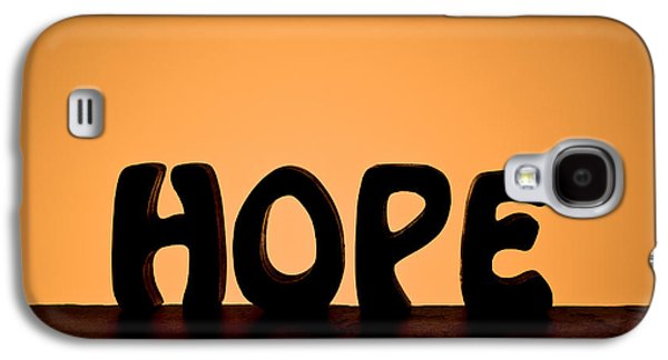 Self-improvement Galaxy S4 Cases - Silhouette Single Word HOPE Galaxy S4 Case by Donald  Erickson