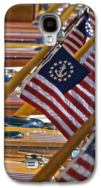 Mahogany Red Galaxy S4 Cases - Silhouette Stars and Stripes Galaxy S4 Case by Steven Lapkin