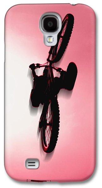 Transportation Photographs Galaxy S4 Cases - Silhouette Stunt Bike Rider Galaxy S4 Case by Corey Hochachka