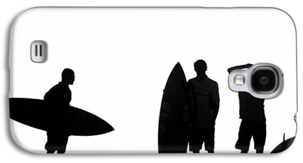 Surf Silhouette Galaxy S4 Cases - Silhouetted Surfers Galaxy S4 Case by Sean Davey