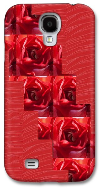 Business Galaxy S4 Cases - Silken RED Sparkles RedRose Across Galaxy S4 Case by Navin Joshi