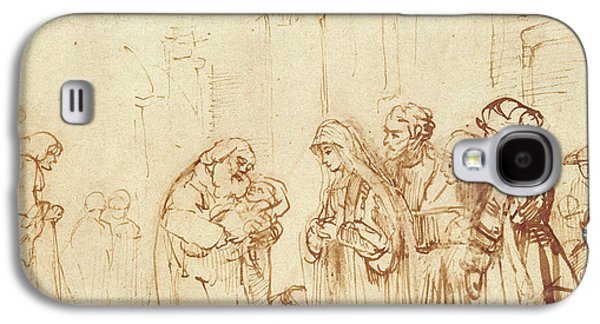 Jesus Drawings Galaxy S4 Cases - Simeon and Jesus in the Temple Galaxy S4 Case by Rembrandt Harmenszoon van Rijn