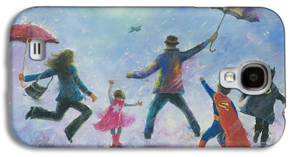 Supergirl Paintings Galaxy S4 Cases - Singing in the Rain Super Hero Kids Galaxy S4 Case by Vickie Wade