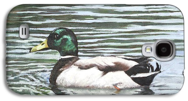 Group Of Birds Paintings Galaxy S4 Cases - Single mallard duck in water Galaxy S4 Case by Martin Davey