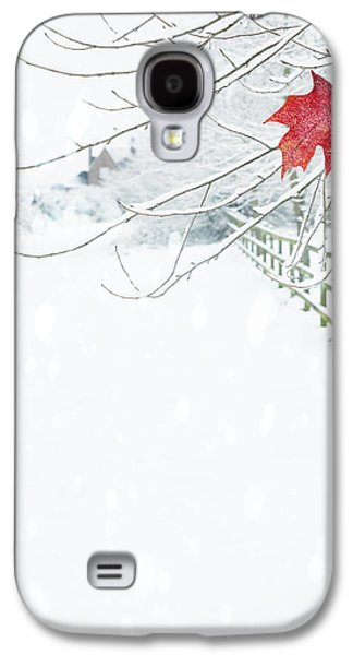 Snow Landscape Galaxy S4 Cases - Single Red Leaf Galaxy S4 Case by Amanda And Christopher Elwell