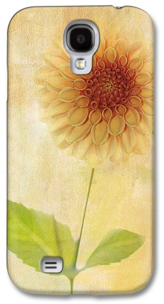 Symetry Galaxy S4 Cases - Single Yellow Dahlia Galaxy S4 Case by Rebecca Cozart