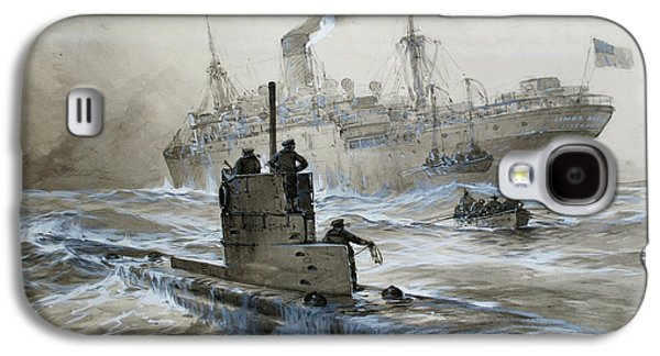 Wwi Paintings Galaxy S4 Cases - Sinking of the Linda Blanche out of Liverpool Galaxy S4 Case by Willy Stoewer