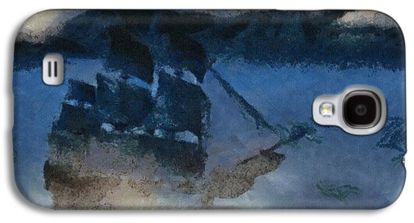 Sailboats Drawings Galaxy S4 Cases - Sinking Sailer Galaxy S4 Case by Ayse Deniz