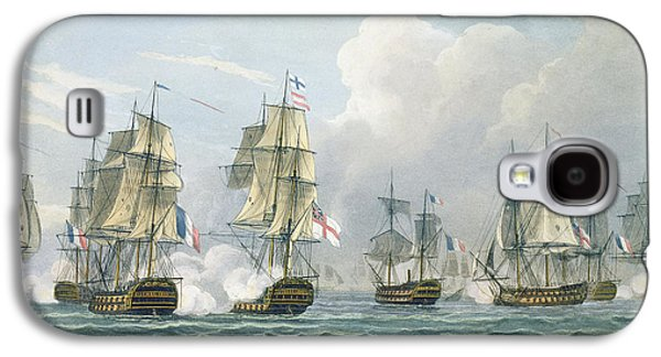 Frigates Paintings Galaxy S4 Cases - Sir Richard Strachans Action after the Battle of Trafalgar Galaxy S4 Case by Thomas Whitcombe
