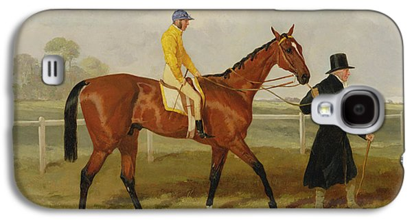 Horse Racing Galaxy S4 Cases - Sir Tatton Sykes Leading in the Horse Sir Tatton Sykes with William Scott Up Galaxy S4 Case by Harry Hall