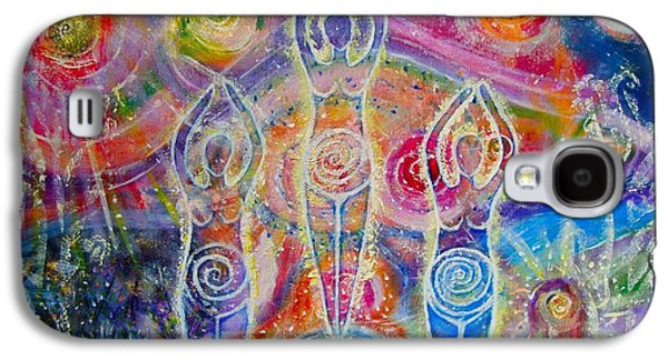 Goddess Paintings Galaxy S4 Cases - Sisterhood of the divine feminine Galaxy S4 Case by Lila Violet