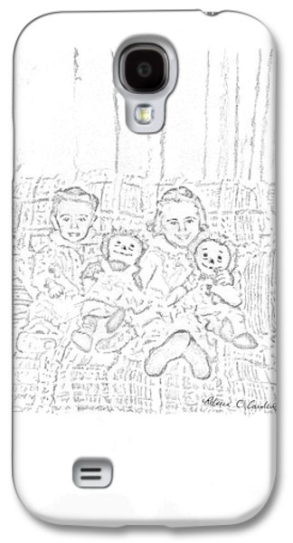 Sisters Drawings Galaxy S4 Cases - Sisters Galaxy S4 Case by Rebecca Christine Cardenas