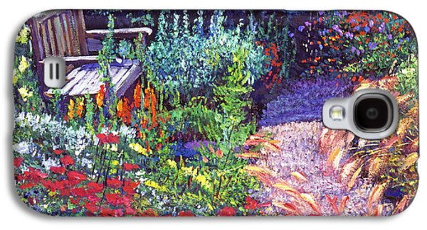 Pathway Paintings Galaxy S4 Cases - Sitting Amoung The Flowers Galaxy S4 Case by David Lloyd Glover