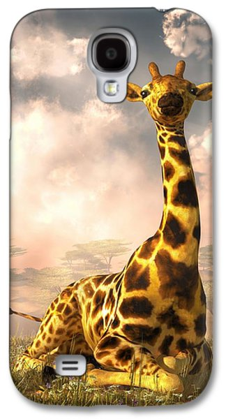Giraffe Digital Galaxy S4 Cases - Sitting Giraffe Galaxy S4 Case by Daniel Eskridge