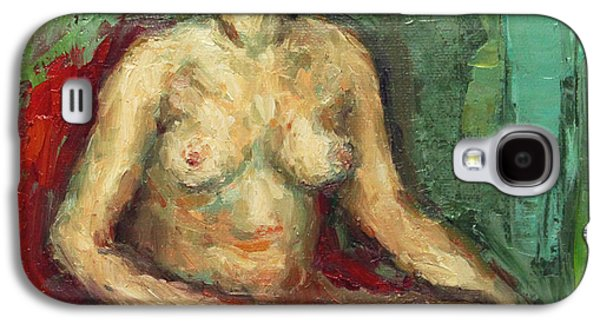 Becky Kim Paintings Galaxy S4 Cases - Sitting Nude in Red Chiar Galaxy S4 Case by Becky Kim