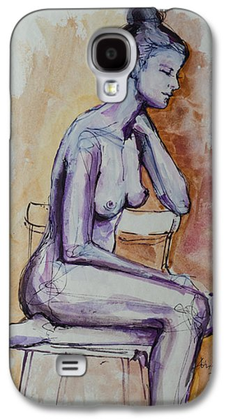 Figures Mixed Media Galaxy S4 Cases - Sitting On The Chair Nude Galaxy S4 Case by Dorina  Costras