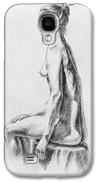 Head Drawings Galaxy S4 Cases - Sitting Woman Study Galaxy S4 Case by Irina Sztukowski